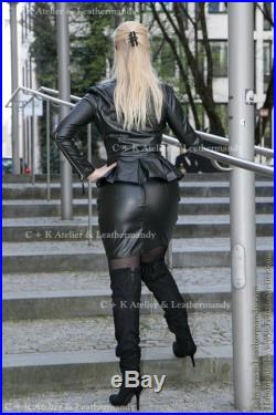 C K Leatherskirt with metal zipper, super shiny, stretchable, new handmade