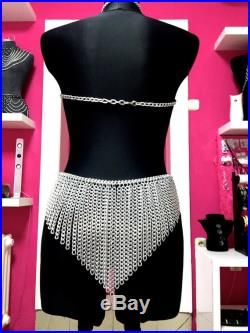 CHAIN BRA Skirt and a necklace Handmade Silver Gold Black body chain Lingerie Choose your own size over size A B C D F