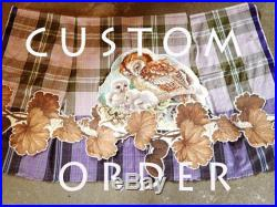 CUSTOM ORDER for CAROLYN Mother Owl and two young ones, A-line skirt, Indonesian cotton check sari, lined, embroidery appliqué, lilac green