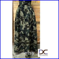 Camouflage Tie Waist Maxi Skirt with pockets.