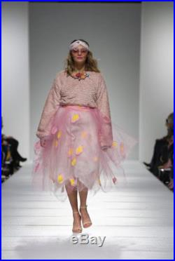 Carrie Bradshaw Pink and White Layered Tulle Skirt with hand Mod Inspired Polkadots Hand Appliquéd with a Coordinating Pink Waistband.