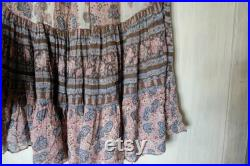 Chaco Original 70s Vintage gauze skirt Floral print Tiered maxi skirt Indian Boho Hippie Chic m