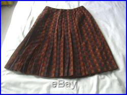 Chanel Haute Couture Plaid Wool Blend Pleated Skirt 1960s UK 10 US 6