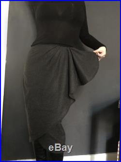 Charcoal Grey Wool Waterfall Skirt. Made to Order Made to Measure Sizes Xs to XL.