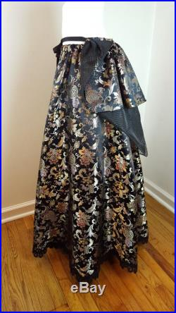 Chinese Brocade Ball Skirt with Removable Bustle One Size OOAK