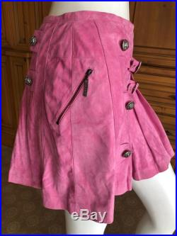 Christian Dior by John Galliano Vintage Pleated Pink Suede Skirt
