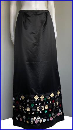 Christian Lacroix Fall 1999 size 44 FR maxi skirt silk black embellished vintage new with tags