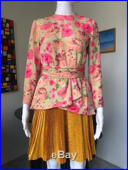 Christian Lacroix haute couture Spring 1994 blouse skirt belt floral jade yellow