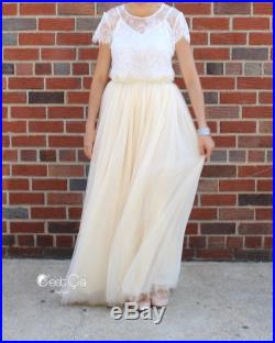 Claire Champagne Maxi Tulle Skirt, Wedding Tulle Skirt, Bridal Tulle Skirt, Floor Length Tulle Skirt, Bridesmaid Skirt, Wholesale