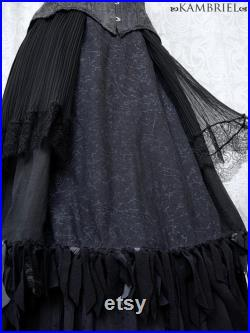 Cobwebby Black Patchwork Skirt by Kambriel Midi Length withVintage Cotton, Velvet, Antique Pleated Silk and Lace Brand New One of a Kind