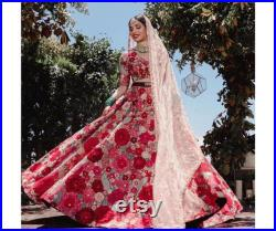 Colorful floral thread embroidered Indian wedding reception lehenga lengha choli blouse with dupatta