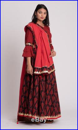 Combo set of Red and black printed Ethnic Skirt with Crop Top and Stole