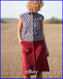 Corduroy button down skirt in red OFFON CLOTHING