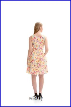 Cotton Floral Hand Printed Fit and Flare Summer Dress