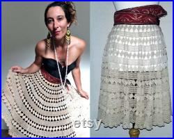 Crochet Circle Skirt Ecru Asian Red Waistband Upcycle Couture
