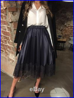 Dark blue navy satin luxury skirts Pockets black lace Woman clothing handcrafted chic wedding prom outfit ONE SIZE for XS,S,M