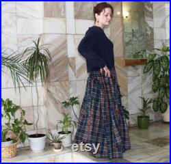 Dark blue plaid skirt Tartan skirt Long skirt Maxi skirt Pleated skirt Full maxi skirt Plaid skirt Plus size Checkered skirt Gift for myself