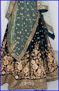 Dark green lehenga choli with golden embroidery heavy work lengha Indian dress party wear wedding wear custom stitched made to order dress.