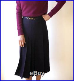 Dark purple CELINE PARIS wool pleated below-the-knee skirt, leather and gold buckle at waistline, Made in France, XS