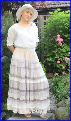 Delicate flower.Light cream lilac color maxi skirt in boho style.