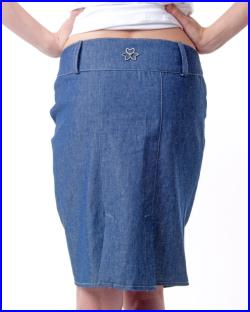 Denim skirt knee length with braid at front