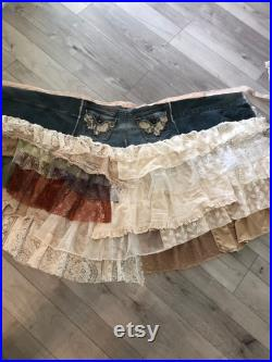 Denimand Lace Cowgirl Western Stevie Nicks style layered ruffle party festival romantic maxi wrap skirt size L XL 1X