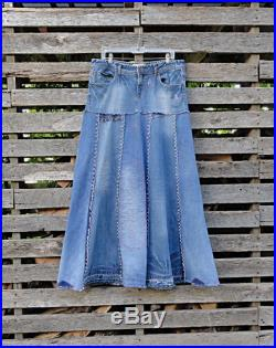 Distressed Long Jean Skirt Made to Order Upcycled Long Jean Skirt