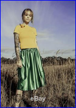 Dolores in Green Satin Gatherd Vintage Style Skirt