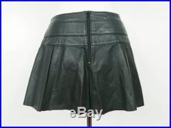 Early 2000s Northbound Leather box pleat mini skirt with buckle Small raw edge, unlined