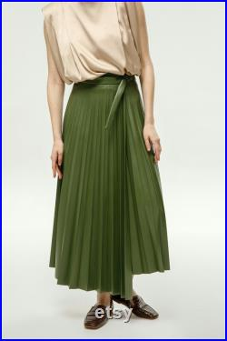 Eco leather skirt Long pleated skirt Flowy high waisted skirt Sexy skirt Modest A line skirt More colors to choose