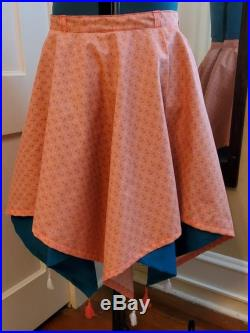 Eight-Pointed Tasseled Skirt, Coral Anchor Print with Dark Cyan Contrast Lining