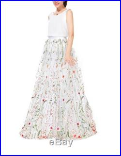 Elegant Embroidery High Waisted Maxi Skirt White Long Tulle Prom Dress Stylish Costume Ballgown Prom Skirt