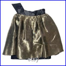 Emporio Armani 80s shiny and elegant gold black skirt, made in Italy mint condition.