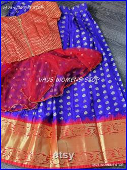Exclusively Customized Kanchi Silk Designer Traditional Lehenga Crop top Set Suitable For Ages 13 16 Yr Ready To Ship From Texas, USA
