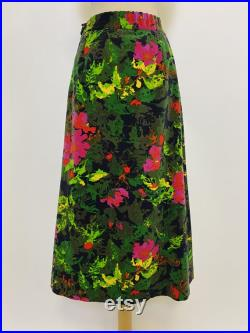 FACONETTO vintage 1970s colorful graphic floral velvet cotton fabric flared skirt