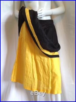 FERRAGAMO 2 Layer Shirred Tiered Flared Skirt w Yellow Color Block Stripe Flounce Mid Century Vibe Casual Chic 1980s Does 1950s Cool