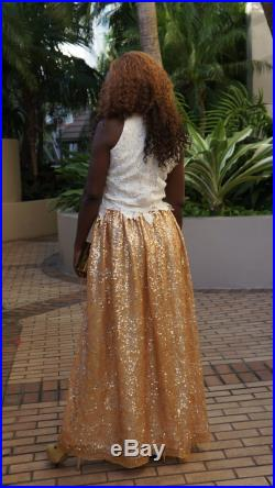 FREE SHIPPING Gold Maxi Sequin Skirt, Prom Skirt, Bridesmaids Skirt (REDUCED )
