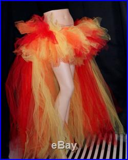Fire Phoenix high low Flames Formal Bustle Cosplay Costume TuTu Adult All Sizes MTCoffinz