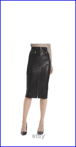 Fitted Leather A line Skirt with front Zip for Women