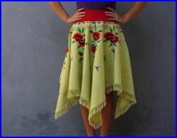 Flamenco Tassel Skirt Red Poppies Vintage Embroidery Tango Dance US size 8 10 EU size 38 40