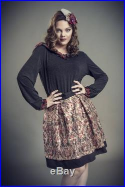Flared skirt in tulle embroidered with Burgundy and gold sequins on black, short a-line skirt has glitter, bronze and Burgundy pleated skirt