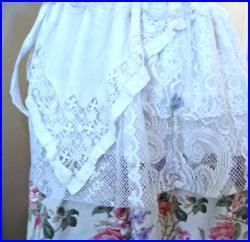 Floral Bridal Skirt Womens Secret Garden Layered One Size Wearable Art White Lace Vintage Linens Wedding Party