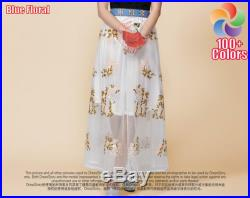 Floral Organza Maxi Skirt Light Blue Maxi Skirt with Pastoral Floral Embroidery Long Blue Lace Skirt Lace Maxi Skirt 15N418