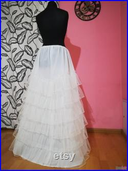 Flounces petticoat in stiff tulle Hoop free petticoat for wedding dresses and light costumes Accessories cosplay Rainbow underskirt