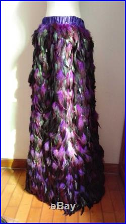 Free shipping floor-length rooster small A-line feather skirt for party, show, ball SKT150124P