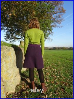 Freydis and Sun Women's skirt, walklodes made of pure virgin wool, violet with flowers, Made in Germany