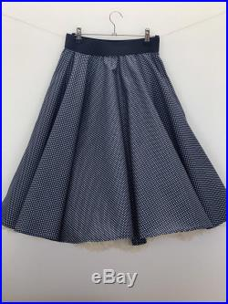 Full Circle Skirt Navy Blue with White Polka Dots Elastic Waistband