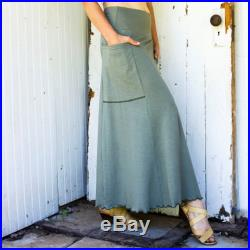 Full Length Passport Pocket Skirt Organic Fabric Choose Your Color Made to Order Eco Fashion Boho Chic Custom Made to Order