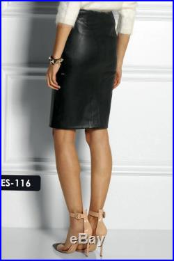 Genuine Leather Pencil Skirt Panelled Seams For Women