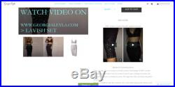 GeorgiaLeyla 1600 Crystals Knee Length Skirt and Backless Crop Top 2 Pieces Dress Set Black color, Real Crystal, Double Layer, Glitter Fabric